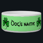 """Vibrant green shamrocks bowl<br><div class=""""desc"""">Beautiful lucky shamrocks in bright green with an elegant black border with a green background on a dog food dish to personalize with your dog&#39;s name. I really love how this turned out.</div>"""