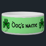 "Vibrant green shamrocks bowl<br><div class=""desc"">Beautiful lucky shamrocks in bright green with an elegant black border with a green background on a dog food dish to personalize with your dog&#39;s name. I really love how this turned out.</div>"