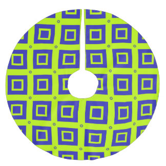 Vibrant Green Square Grid Pattern Brushed Polyester Tree Skirt