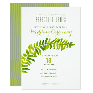 VIBRANT GREEN WATERCOLOR FERN FOLIAGE WEDDING CARD