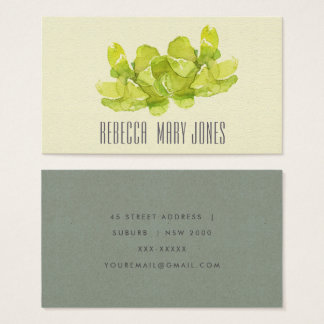 VIBRANT GREEN WATERCOLOR SUCCULENT ADDRESS BUSINESS CARD