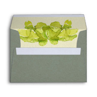 VIBRANT GREEN WATERCOLOR SUCCULENT PERSONALIZED ENVELOPE