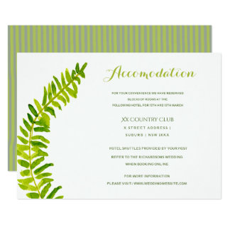 VIBRANT GREEN WATERCOLOUR FERN ACCOMMODATION CARD