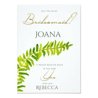 VIBRANT GREEN WATERCOLOUR FERN BRIDESMAID CARD