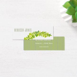VIBRANT GREEN WATERCOLOUR FERN FOLIAGE ADDRESS MINI BUSINESS CARD