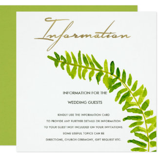VIBRANT GREEN WATERCOLOUR FERN FOLIAGE INFORMATION CARD