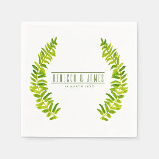 VIBRANT GREEN WATERCOLOUR FERN FOLIAGE MONOGRAM NAPKIN