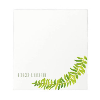 VIBRANT GREEN WATERCOLOUR FERN FOLIAGE MONOGRAM NOTEPAD