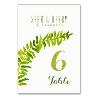 VIBRANT GREEN WATERCOLOUR FERN TABLE CARD
