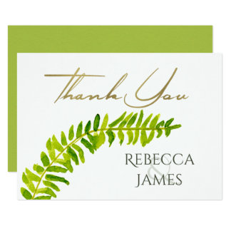 VIBRANT GREEN WATERCOLOUR FERN THANK YOU CARD