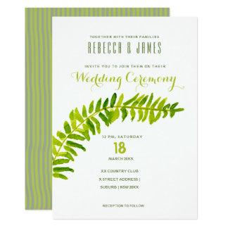 VIBRANT GREEN WATERCOLOUR FERN WEDDING CARD