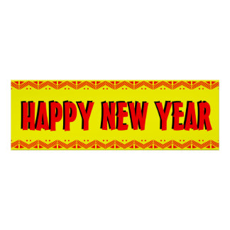 "Vibrant ""Happy New Year"" Banner Poster"