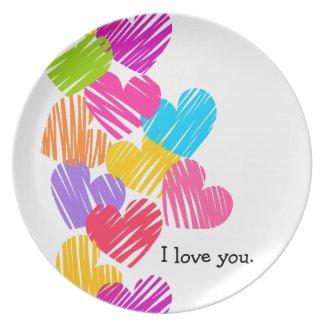 "Vibrant Hearts ""I love you"" Plate"