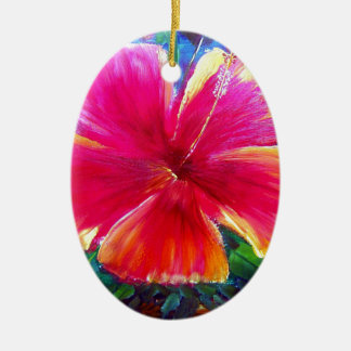 Vibrant Hibiscus Flower Christmas Ornament