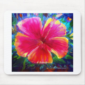 Vibrant Hibiscus Flower Mouse Pad