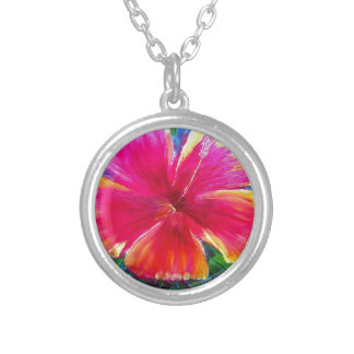 Vibrant Hibiscus Flower Personalized Necklace
