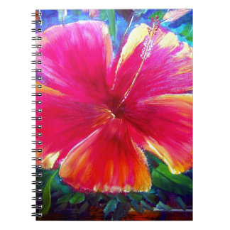 Vibrant Hibiscus Flower Spiral Note Books