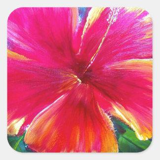 Vibrant Hibiscus Flower Square Stickers