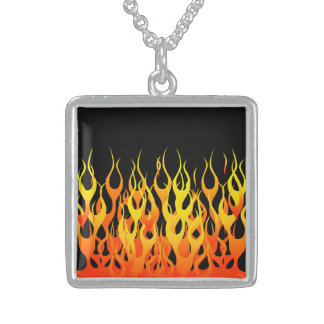 Vibrant Hot Classic Racing Flames on Fire Sterling Silver Necklace
