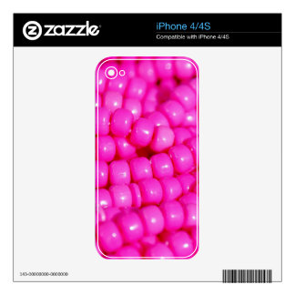 Vibrant Hot Pink Bead Print Skins For iPhone 4S