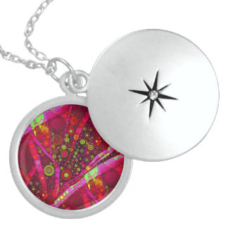 Vibrant Hot Pink Concentric Circle Mosaic Pendants