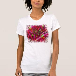Vibrant Hot Pink Concentric Circle Mosaic Tee Shirt