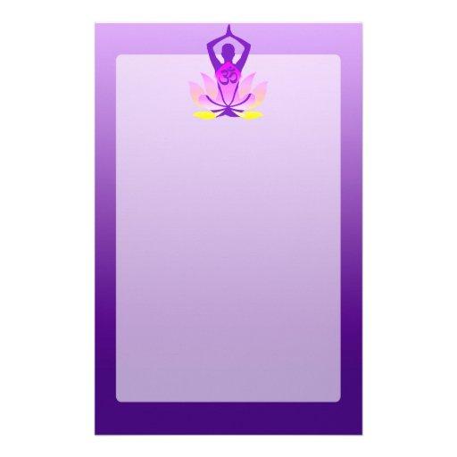 Vibrant Hue Om Lotus Yoga Pose Stationery Zazzle