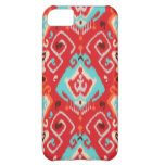 Vibrant ikat pattern in red and turquoise cover for iPhone 5C