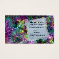Vibrant Jewel tone Fractal Ferns Business Card