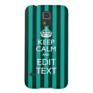 Vibrant Keep Calm Your Text Turquoise Stripes Galaxy S5 Cases