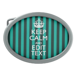 Vibrant Keep Calm Your Text Turquoise Stripes Oval Belt Buckle