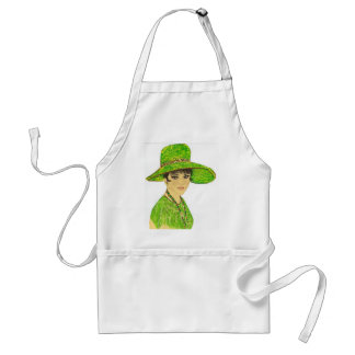 Vibrant Lady in Green Adult Apron
