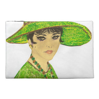 Vibrant Lady in Green Travel Accessory Bags