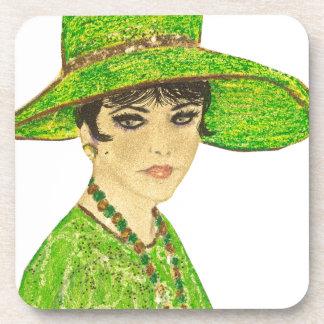 Vibrant Lady in Green Beverage Coaster