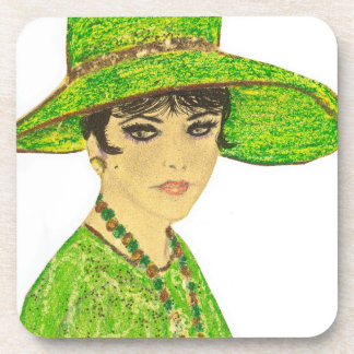 Vibrant Lady in Green Coaster