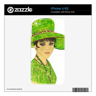 Vibrant Lady in Green Decals For The iPhone 4