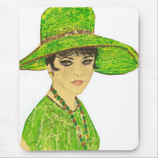 Vibrant Lady in Green Mouse Pad