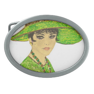 Vibrant Lady In Green Oval Belt Buckle