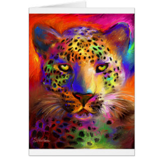 Vibrant Leopard painting Card