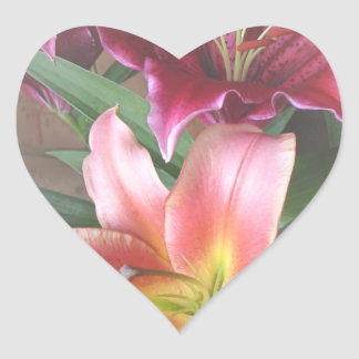 Vibrant Lily Duo Heart Sticker