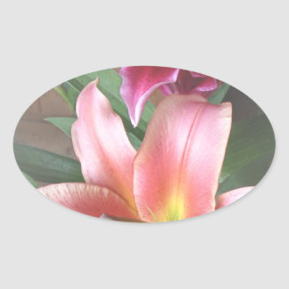 Vibrant Lily Duo Oval Sticker