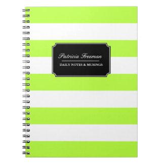 Vibrant Lime Green and White Stripes Custom Name Notebook