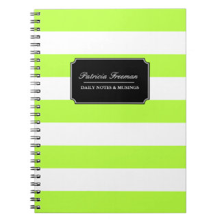 Vibrant Lime Green and White Stripes Custom Name Spiral Notebook
