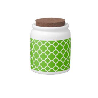 Vibrant Lime Green Quatrefoil Pattern Candy Jars