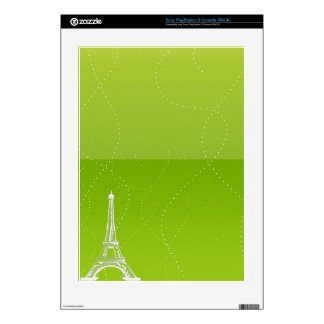 Vibrant Lime Green with Eiffel Tower PS3 Decals