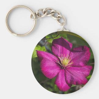 Vibrant Magenta Pink Clematis Blossom Keychain