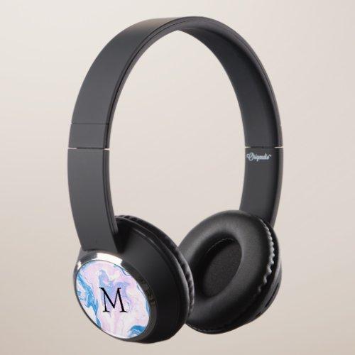 Vibrant Marble Custom Initial Headphones