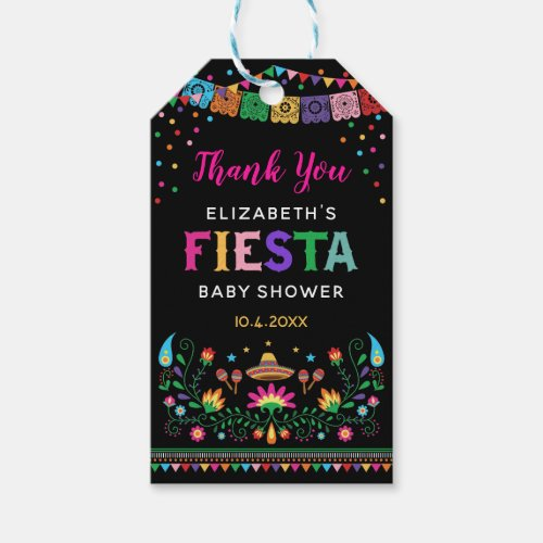 Vibrant Mexican Fiesta Baby Shower Birthday Party Gift Tags