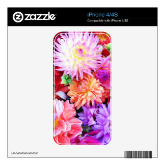 Vibrant Mixed Flower Bouquet Background iPhone 4S Skins