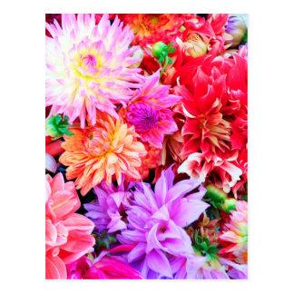 Vibrant Mixed Flower Bouquet Background Postcard